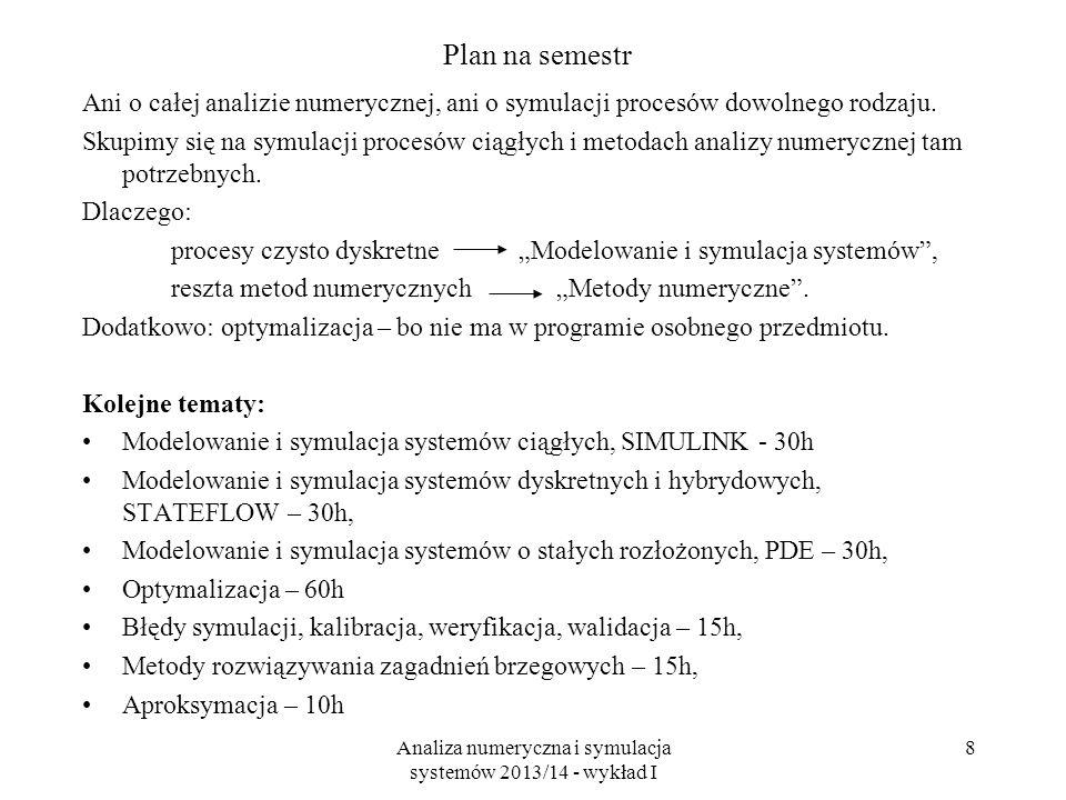 Analiza numeryczna i symulacja systemów 2013/14 - wykład I 8 Plan na semestr Ani o całej analizie numerycznej, ani o symulacji procesów dowolnego rodzaju.