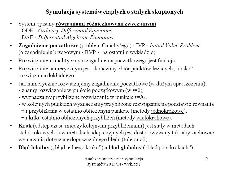Analiza numeryczna i symulacja systemów 2013/14 - wykład I 9 Symulacja systemów ciągłych o stałych skupionych System opisany równaniami różniczkowymi zwyczajnymi - ODE - Ordinary Differential Equations - DAE - Differential Algebraic Equations Zagadnienie początkowe (problem Cauchy'ego) - IVP - Initial Value Problem (o zagadnieniu brzegowym - BVP - na ostatnim wykładzie) Rozwiązaniem analitycznym zagadnienia początkowego jest funkcja.