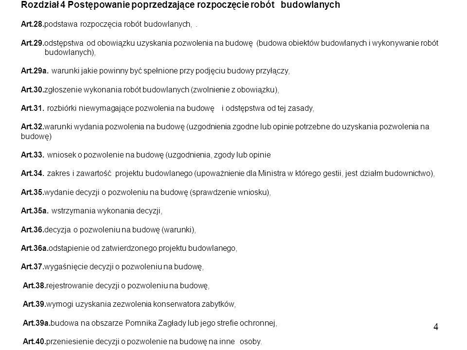 5 Rozdział 5 Budowa i oddawanie do użytku obiektów budowlanych Art.41.prace przygotowawcze do rozpoczęcia robót, Art.42.obowiązki inwestora i kierownika budowy, Art.43.