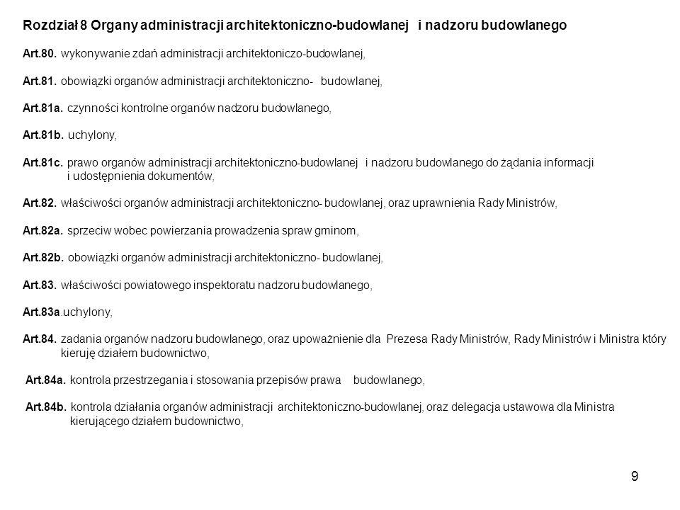 9 Rozdział 8 Organy administracji architektoniczno-budowlanej i nadzoru budowlanego Art.80.