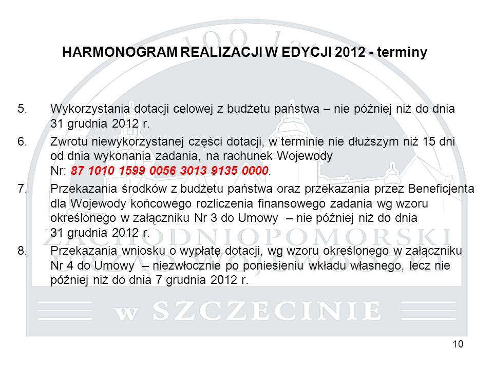 10 HARMONOGRAM REALIZACJI W EDYCJI 2012 - terminy 5.Wykorzystania dotacji celowej z budżetu państwa – nie później niż do dnia 31 grudnia 2012 r. 6.Zwr