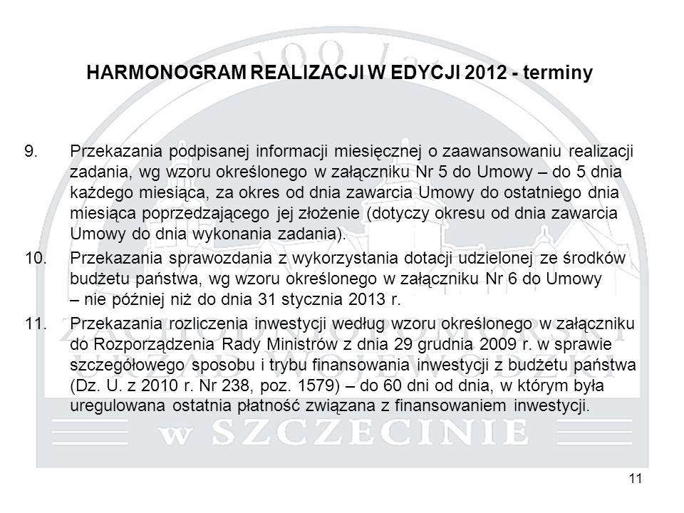 11 HARMONOGRAM REALIZACJI W EDYCJI 2012 - terminy 9.Przekazania podpisanej informacji miesięcznej o zaawansowaniu realizacji zadania, wg wzoru określo