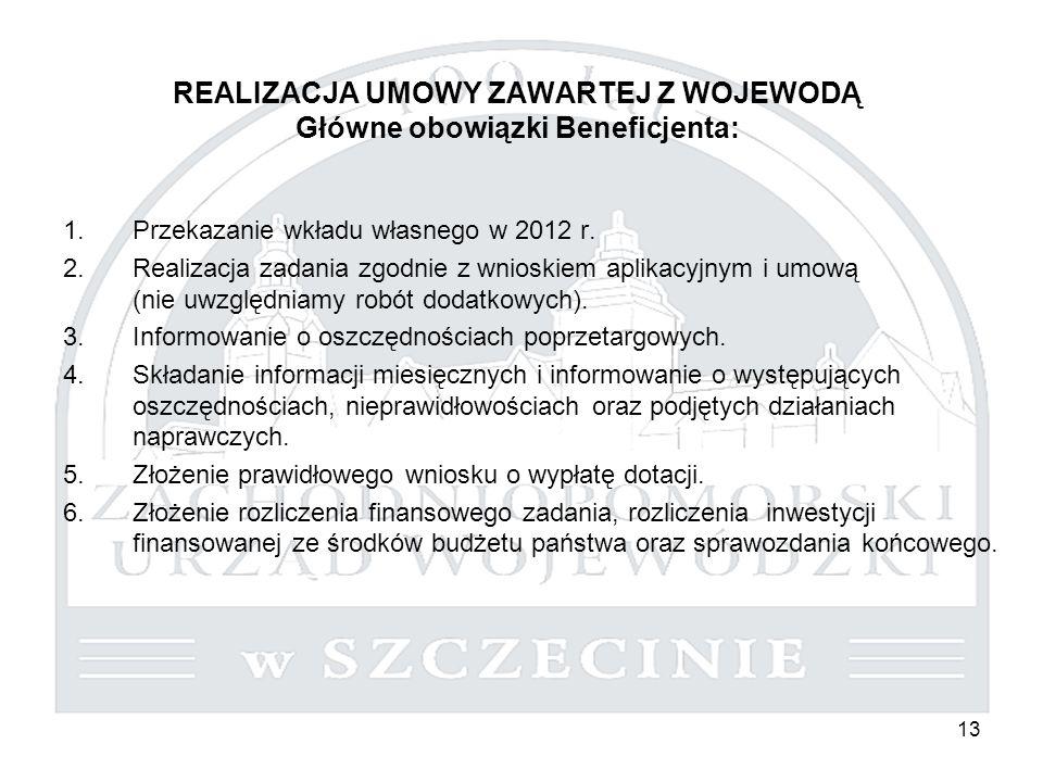 13 REALIZACJA UMOWY ZAWARTEJ Z WOJEWODĄ Główne obowiązki Beneficjenta: 1.Przekazanie wkładu własnego w 2012 r. 2.Realizacja zadania zgodnie z wnioskie