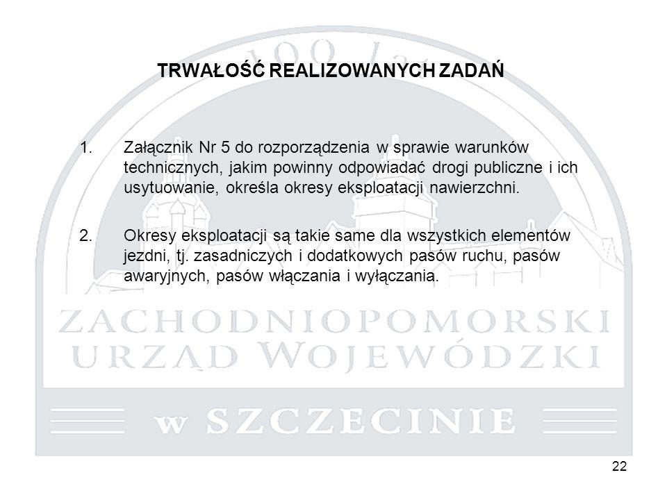 22 TRWAŁOŚĆ REALIZOWANYCH ZADAŃ 1.Załącznik Nr 5 do rozporządzenia w sprawie warunków technicznych, jakim powinny odpowiadać drogi publiczne i ich usytuowanie, określa okresy eksploatacji nawierzchni.