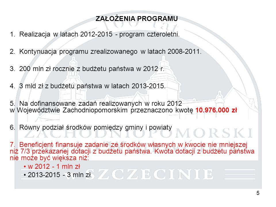 5 ZAŁOŻENIA PROGRAMU 1. Realizacja w latach 2012-2015 - program czteroletni. 2. Kontynuacja programu zrealizowanego w latach 2008-2011. 3. 200 mln zł