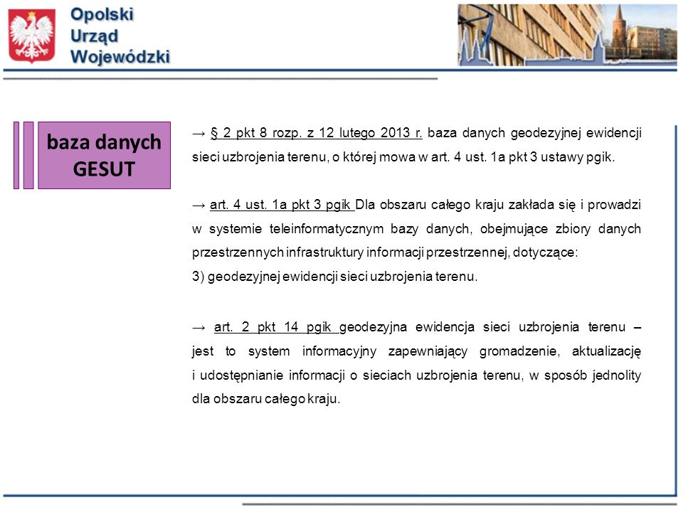 baza danych GESUT → § 2 pkt 8 rozp. z 12 lutego 2013 r.