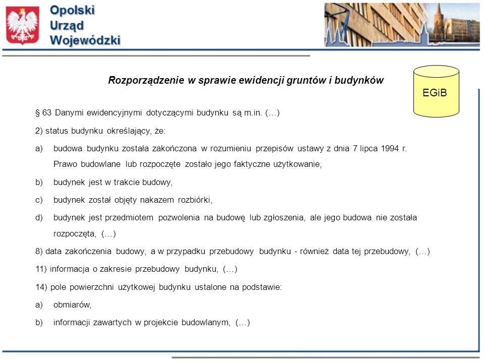 § 63 Danymi ewidencyjnymi dotyczącymi budynku są m.in.