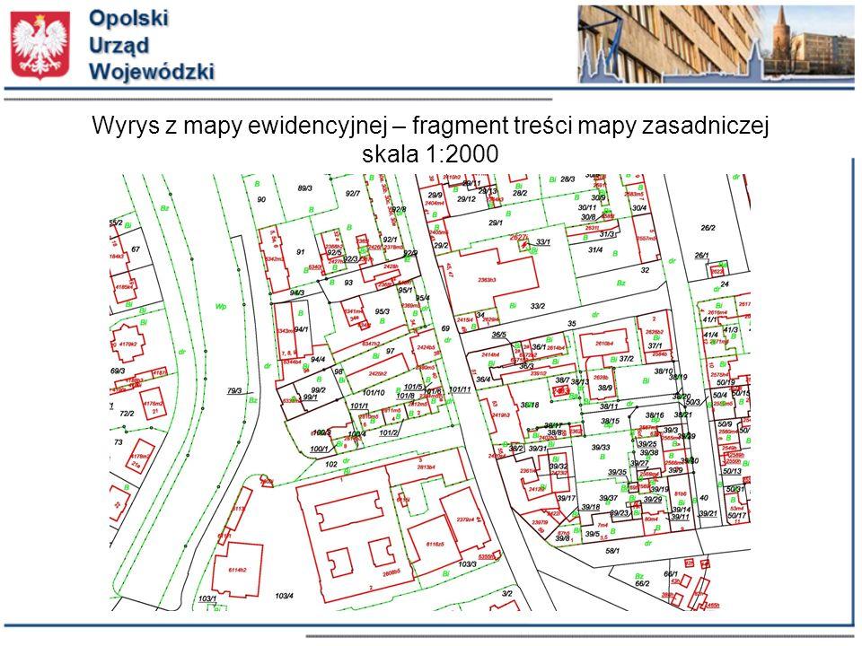 Wyrys z mapy ewidencyjnej – fragment treści mapy zasadniczej skala 1:2000