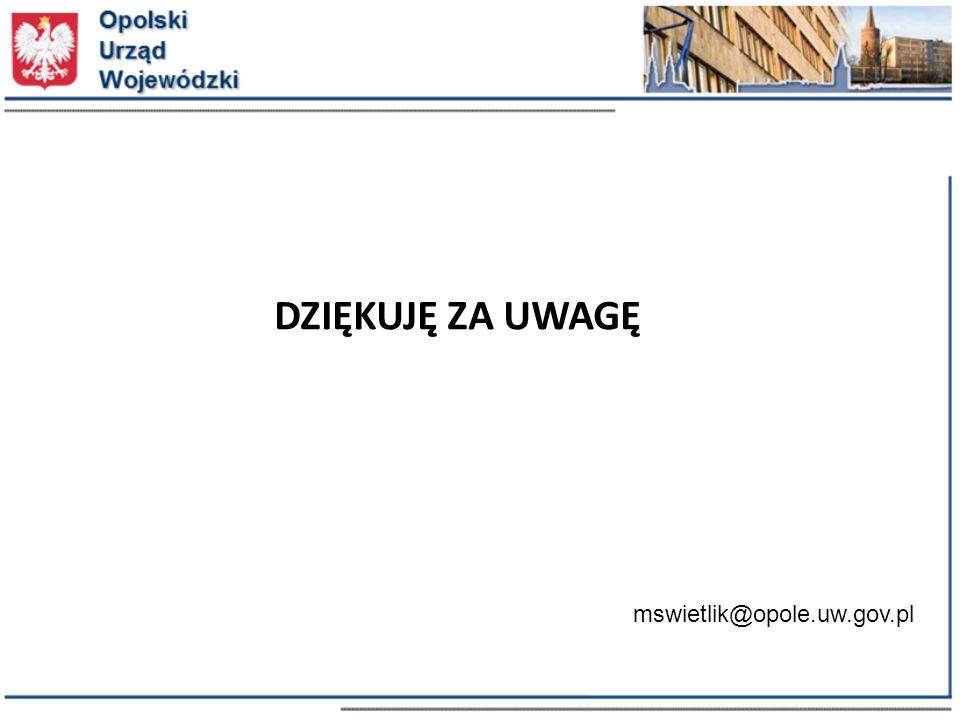 DZIĘKUJĘ ZA UWAGĘ mswietlik@opole.uw.gov.pl