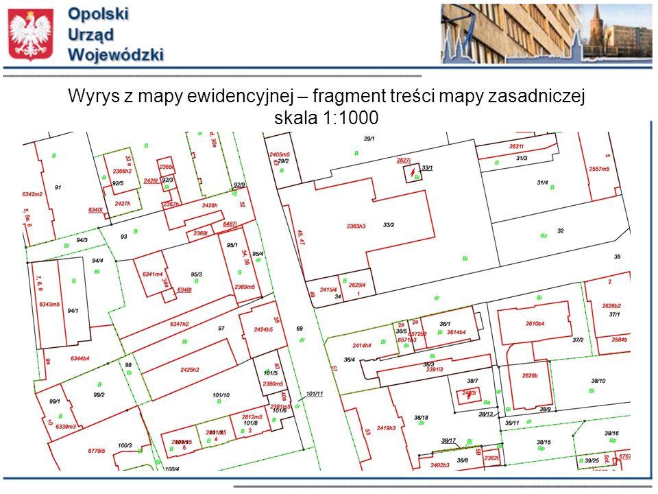 Wyrys z mapy ewidencyjnej – fragment treści mapy zasadniczej skala 1:500