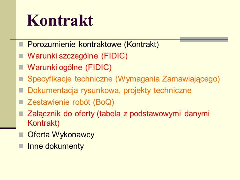Kontrakt Porozumienie kontraktowe (Kontrakt) Warunki szczególne (FIDIC) Warunki ogólne (FIDIC) Specyfikacje techniczne (Wymagania Zamawiającego) Dokumentacja rysunkowa, projekty techniczne Zestawienie robót (BoQ) Załącznik do oferty (tabela z podstawowymi danymi Kontrakt) Oferta Wykonawcy Inne dokumenty
