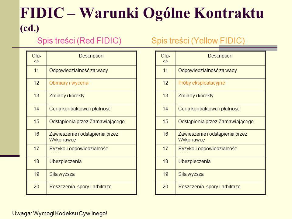 FIDIC – Warunki Ogólne Kontraktu (cd.) Spis treści (Red FIDIC)Spis treści (Yellow FIDIC) Uwaga: Wymogi Kodeksu Cywilnego.
