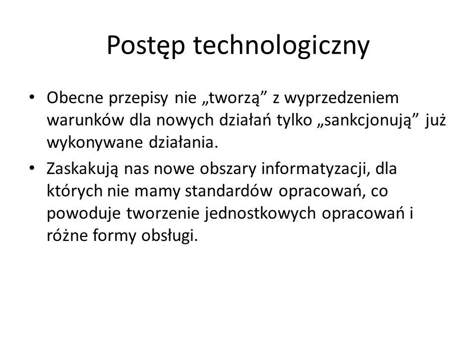 """Postęp technologiczny Obecne przepisy nie """"tworzą z wyprzedzeniem warunków dla nowych działań tylko """"sankcjonują już wykonywane działania."""