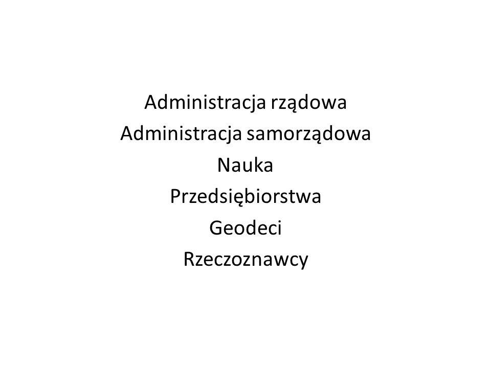 Administracja rządowa Administracja samorządowa Nauka Przedsiębiorstwa Geodeci Rzeczoznawcy