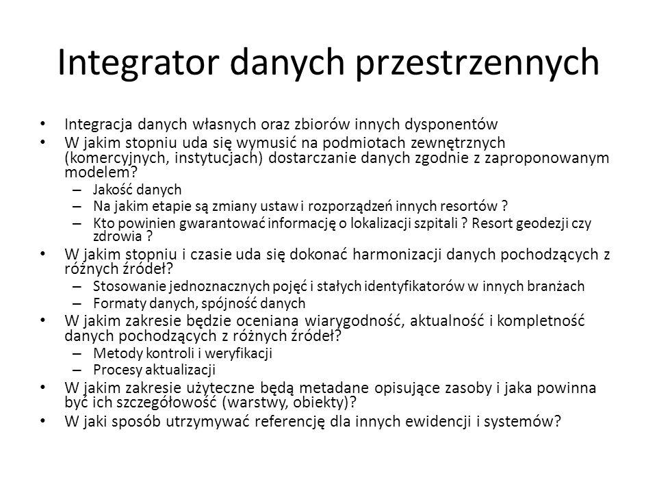 Integrator danych przestrzennych Integracja danych własnych oraz zbiorów innych dysponentów W jakim stopniu uda się wymusić na podmiotach zewnętrznych (komercyjnych, instytucjach) dostarczanie danych zgodnie z zaproponowanym modelem.