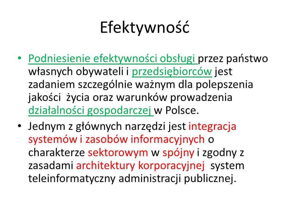 Efektywność Podniesienie efektywności obsługi przez państwo własnych obywateli i przedsiębiorców jest zadaniem szczególnie ważnym dla polepszenia jakości życia oraz warunków prowadzenia działalności gospodarczej w Polsce.
