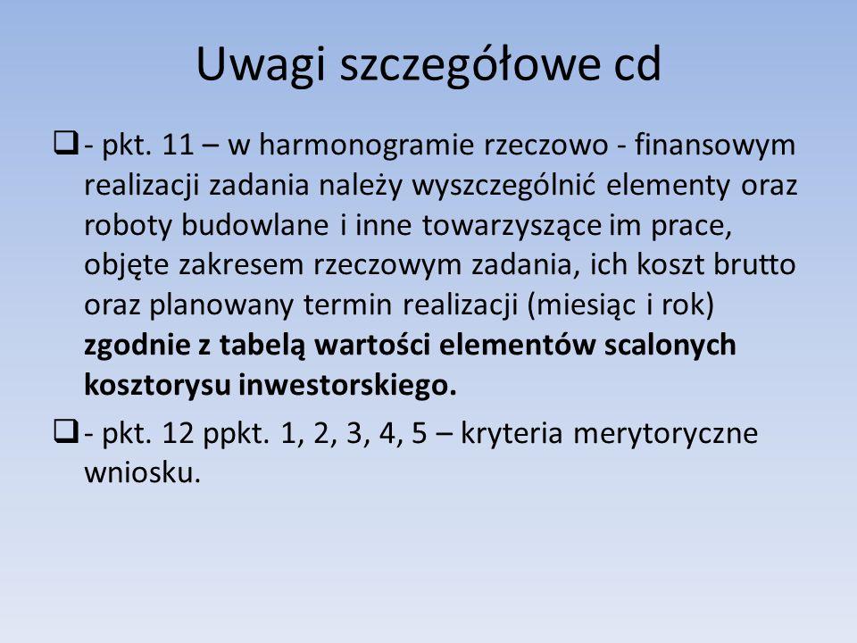 Uwagi szczegółowe cd  - pkt.
