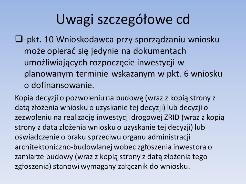 Uwagi szczegółowe cd  -pkt.
