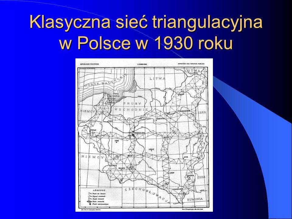 Klasyczna sieć triangulacyjna w Polsce w 1930 roku