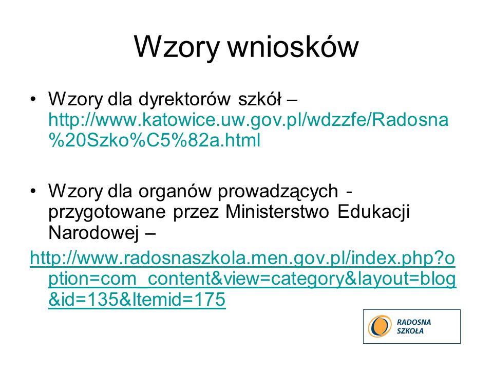 Wzory wniosków Wzory dla dyrektorów szkół – http://www.katowice.uw.gov.pl/wdzzfe/Radosna %20Szko%C5%82a.html Wzory dla organów prowadzących - przygoto