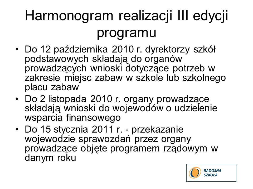 Harmonogram realizacji III edycji programu Do 12 października 2010 r. dyrektorzy szkół podstawowych składają do organów prowadzących wnioski dotyczące