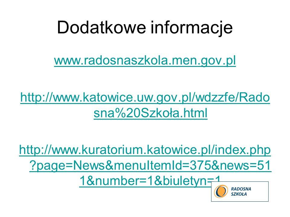 Dodatkowe informacje www.radosnaszkola.men.gov.pl http://www.katowice.uw.gov.pl/wdzzfe/Rado sna%20Szkoła.html http://www.kuratorium.katowice.pl/index.