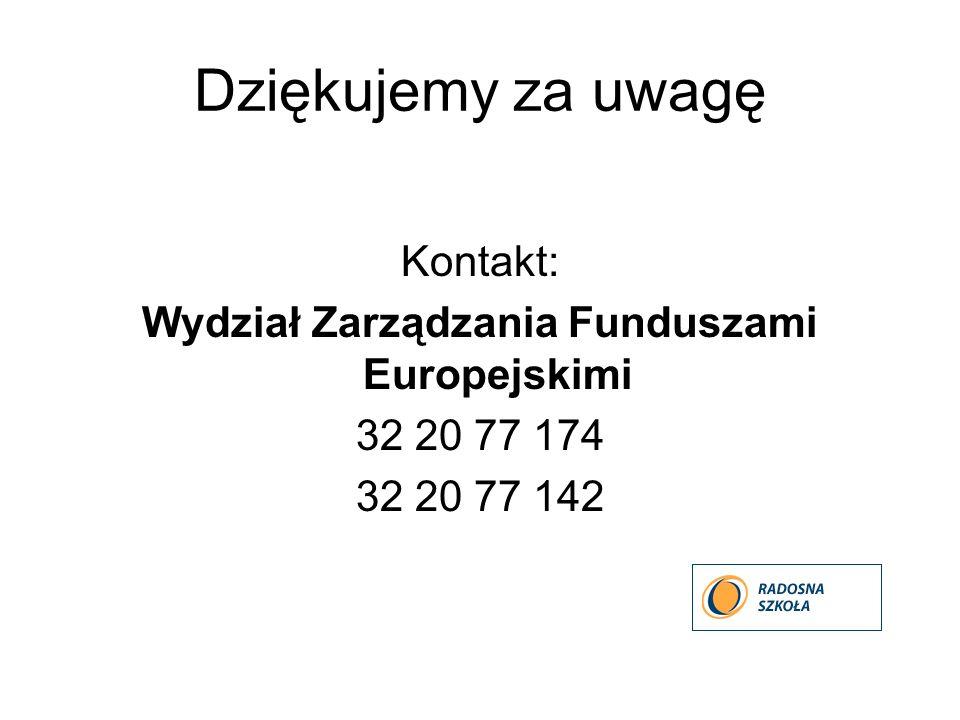 Dziękujemy za uwagę Kontakt: Wydział Zarządzania Funduszami Europejskimi 32 20 77 174 32 20 77 142