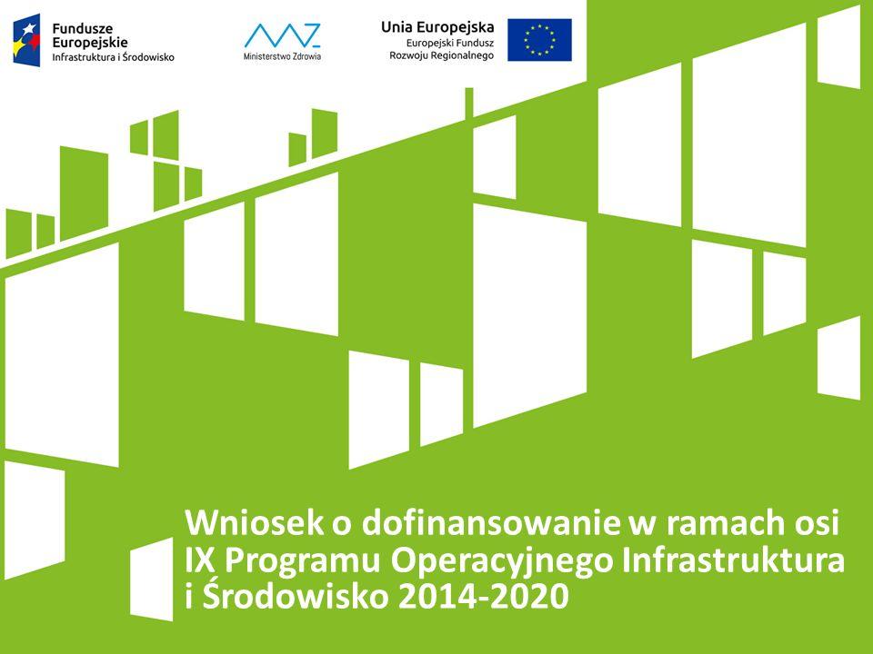 Wniosek o dofinansowanie w ramach osi IX Programu Operacyjnego Infrastruktura i Środowisko 2014-2020