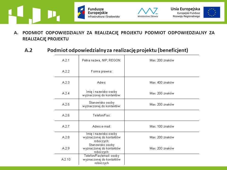 A.PODMIOT ODPOWIEDZIALNY ZA REALIZACJĘ PROJEKTU PODMIOT ODPOWIEDZIALNY ZA REALIZACJĘ PROJEKTU A.2 Podmiot odpowiedzialny za realizację projektu (beneficjent)