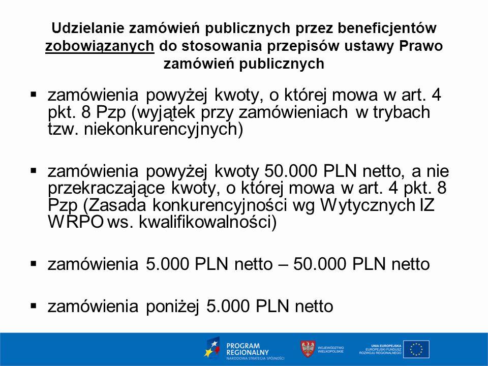 Udzielanie zamówień publicznych przez beneficjentów zobowiązanych do stosowania przepisów ustawy Prawo zamówień publicznych  zamówienia powyżej kwoty, o której mowa w art.