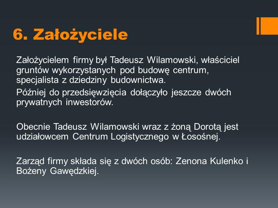6. Założyciele Założycielem firmy był Tadeusz Wilamowski, właściciel gruntów wykorzystanych pod budowę centrum, specjalista z dziedziny budownictwa. P