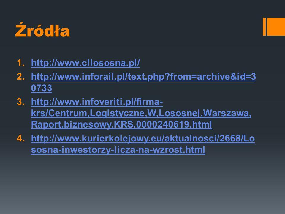 Źródła 1.http://www.cllososna.pl/http://www.cllososna.pl/ 2.http://www.inforail.pl/text.php?from=archive&id=3 0733http://www.inforail.pl/text.php?from=archive&id=3 0733 3.http://www.infoveriti.pl/firma- krs/Centrum,Logistyczne,W,Lososnej,Warszawa, Raport,biznesowy,KRS,0000240619.htmlhttp://www.infoveriti.pl/firma- krs/Centrum,Logistyczne,W,Lososnej,Warszawa, Raport,biznesowy,KRS,0000240619.html 4.http://www.kurierkolejowy.eu/aktualnosci/2668/Lo sosna-inwestorzy-licza-na-wzrost.htmlhttp://www.kurierkolejowy.eu/aktualnosci/2668/Lo sosna-inwestorzy-licza-na-wzrost.html