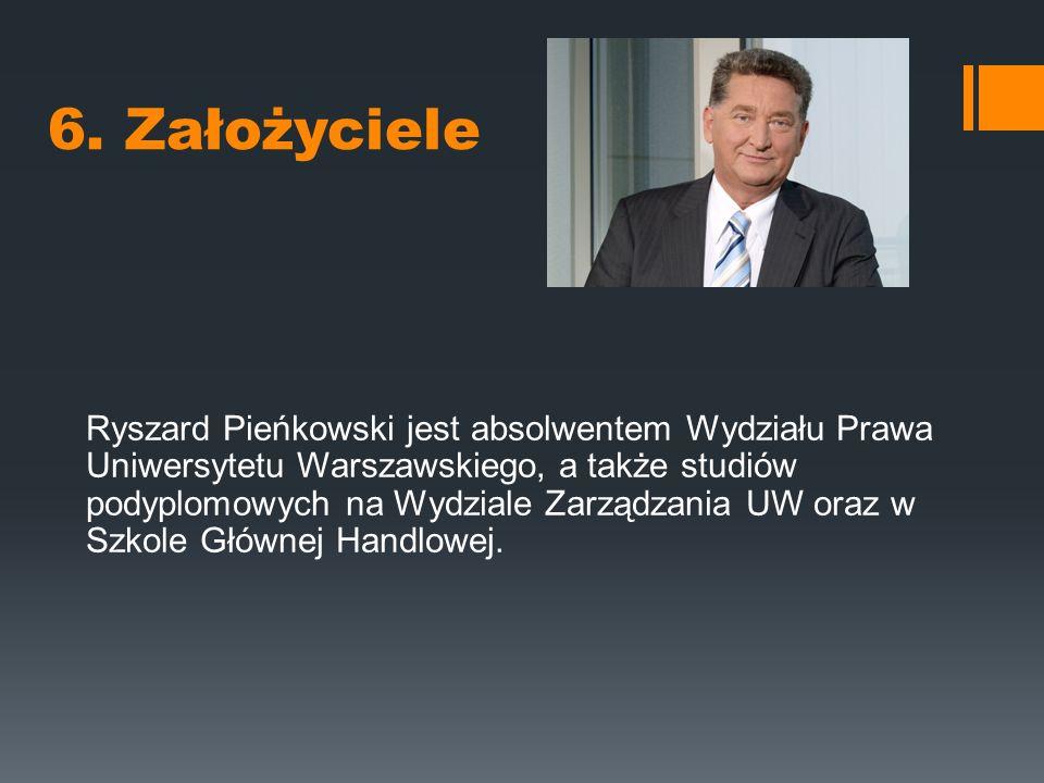 6. Założyciele Ryszard Pieńkowski jest absolwentem Wydziału Prawa Uniwersytetu Warszawskiego, a także studiów podyplomowych na Wydziale Zarządzania UW