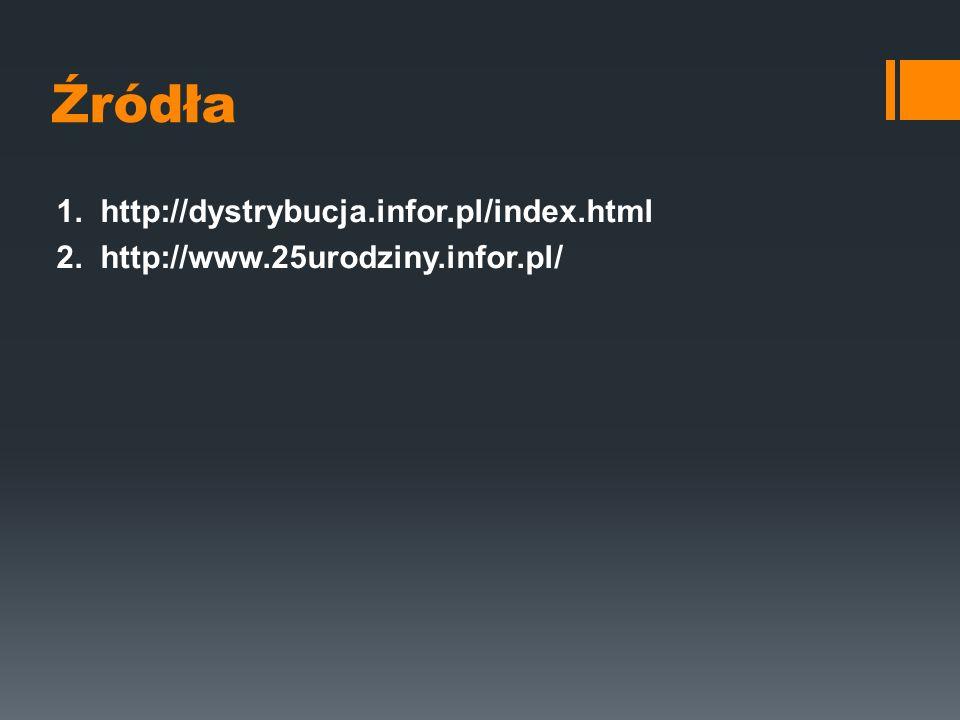 Źródła 1. http://dystrybucja.infor.pl/index.html 2. http://www.25urodziny.infor.pl/
