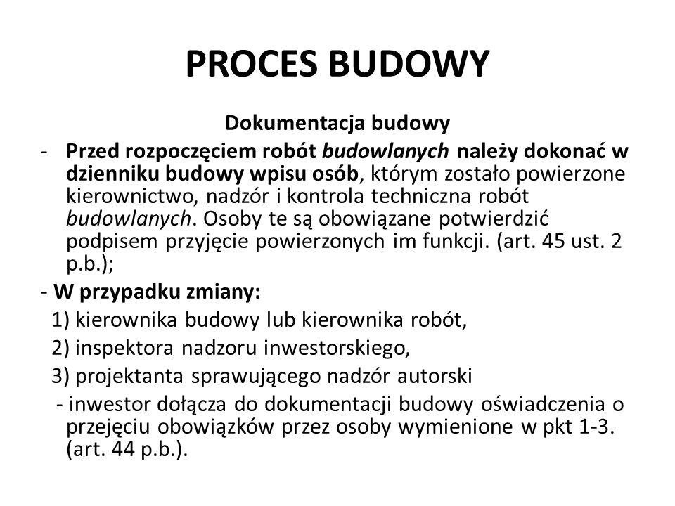 PROCES BUDOWY Dokumentacja budowy -Przed rozpoczęciem robót budowlanych należy dokonać w dzienniku budowy wpisu osób, którym zostało powierzone kierow