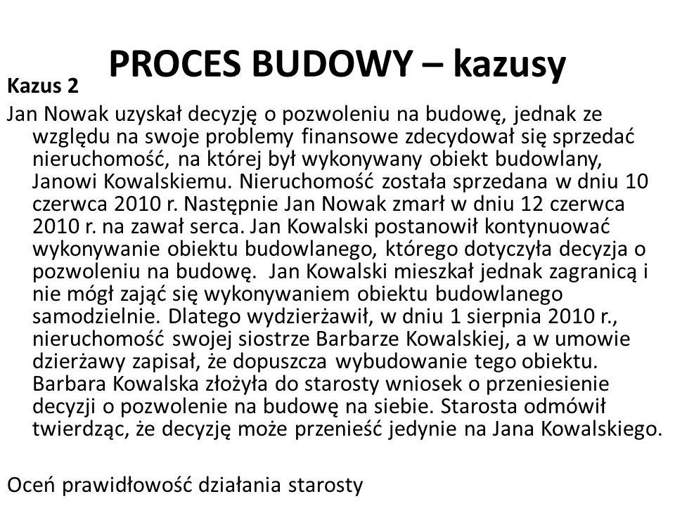 PROCES BUDOWY – kazusy Kazus 2 Jan Nowak uzyskał decyzję o pozwoleniu na budowę, jednak ze względu na swoje problemy finansowe zdecydował się sprzedać