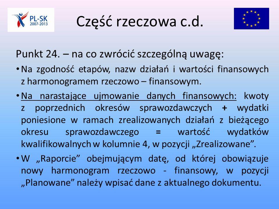 Część rzeczowa c.d. Punkt 24.
