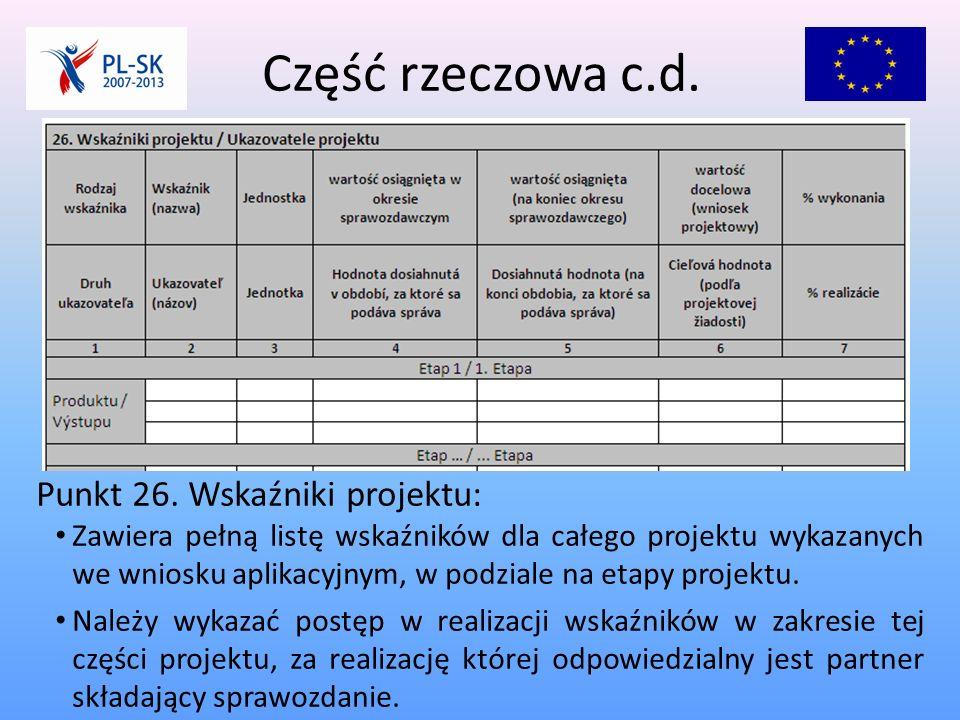 Część rzeczowa c.d. Punkt 26.