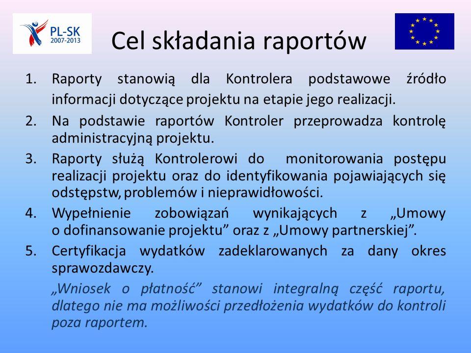 Cel składania raportów 1.Raporty stanowią dla Kontrolera podstawowe źródło informacji dotyczące projektu na etapie jego realizacji.