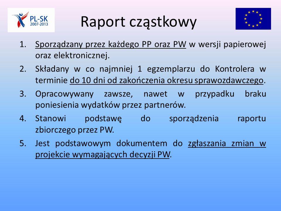 Raport cząstkowy 1.Sporządzany przez każdego PP oraz PW w wersji papierowej oraz elektronicznej.