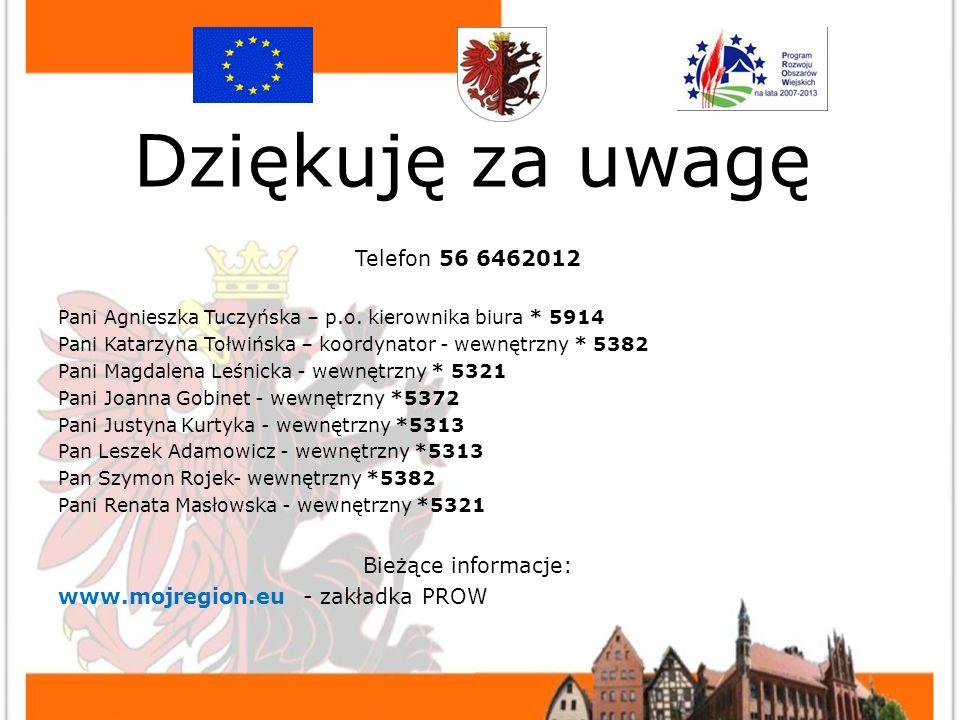 KONTAKT Telefon 56 6462012 Pani Agnieszka Tuczyńska – p.o.