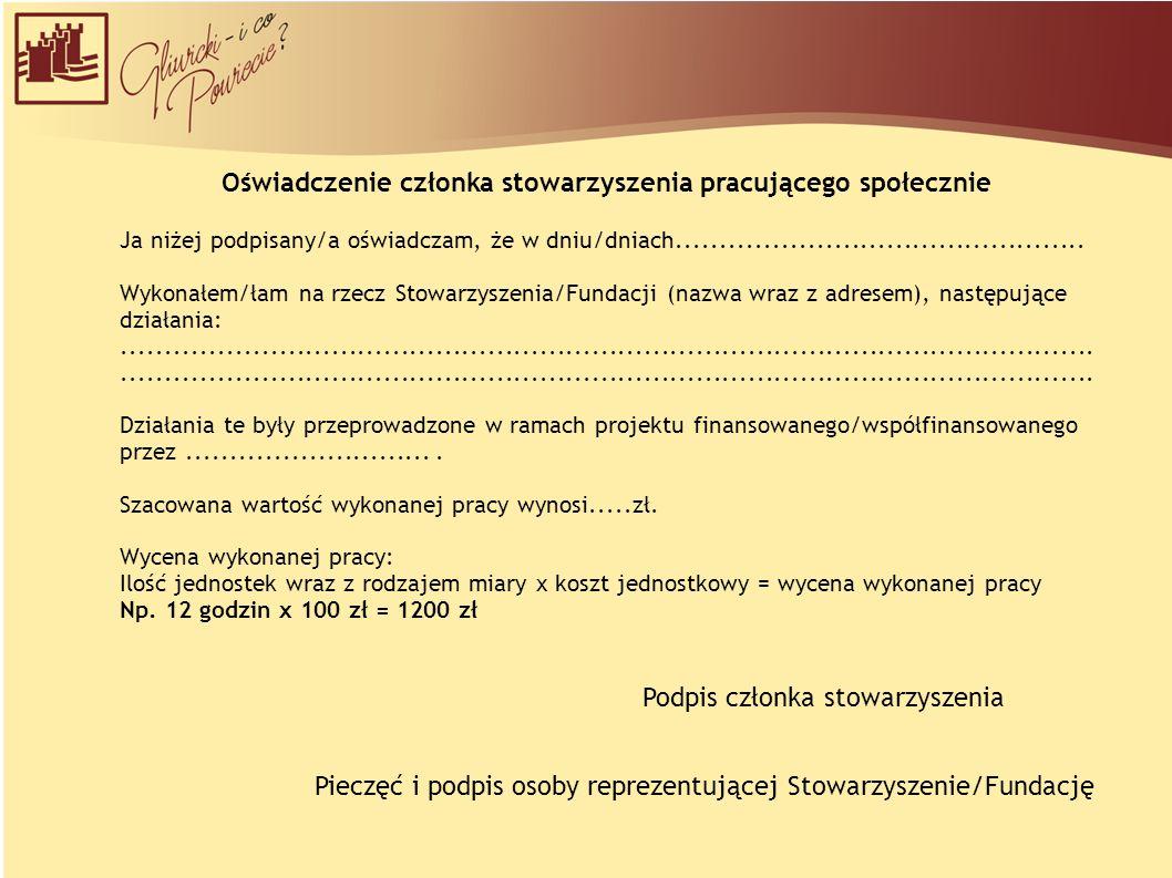 Oświadczenie członka stowarzyszenia pracującego społecznie Ja niżej podpisany/a oświadczam, że w dniu/dniach...............................................