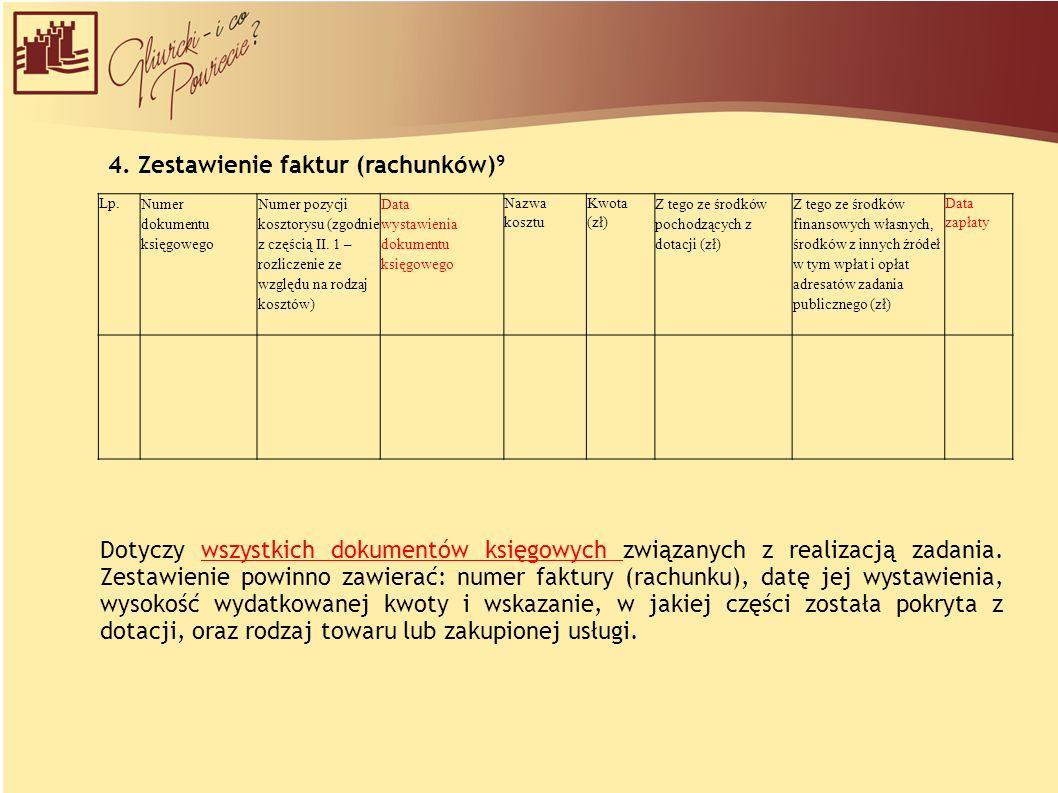 4. Zestawienie faktur (rachunków) 9 Lp.