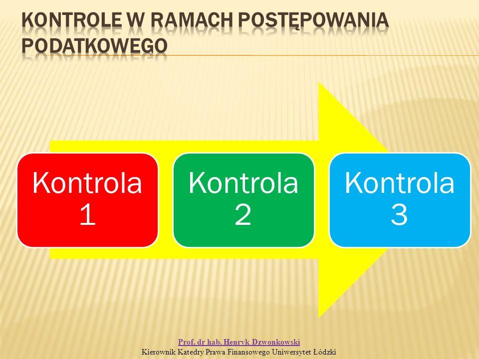 Kontrola 1 Kontrola 2 Kontrola 3 Prof. dr hab.
