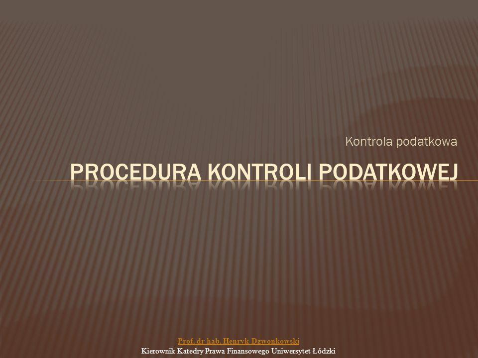 Kontrola podatkowa Prof. dr hab.