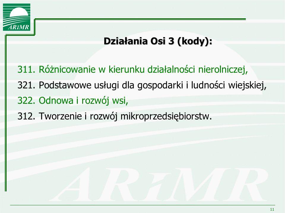 11 Działania Osi 3 (kody): 311. Różnicowanie w kierunku działalności nierolniczej, 321. Podstawowe usługi dla gospodarki i ludności wiejskiej, 322. Od