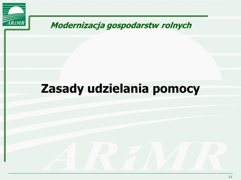 13 Modernizacja gospodarstw rolnych Zasady udzielania pomocy