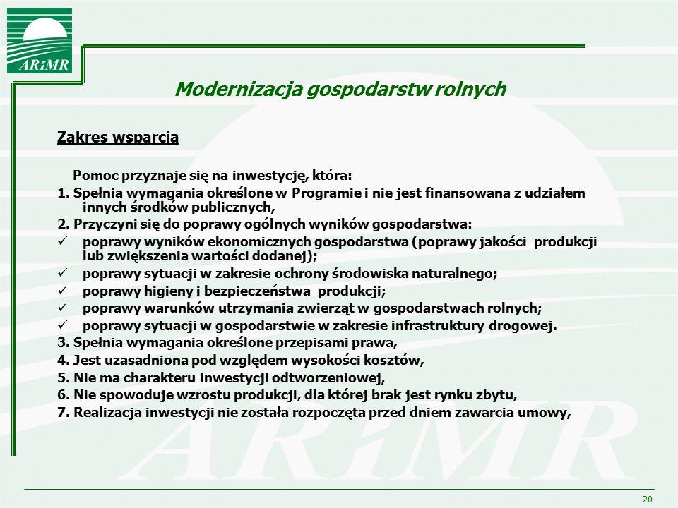 20 Modernizacja gospodarstw rolnych Zakres wsparcia Pomoc przyznaje się na inwestycję, która: 1. Spełnia wymagania określone w Programie i nie jest fi