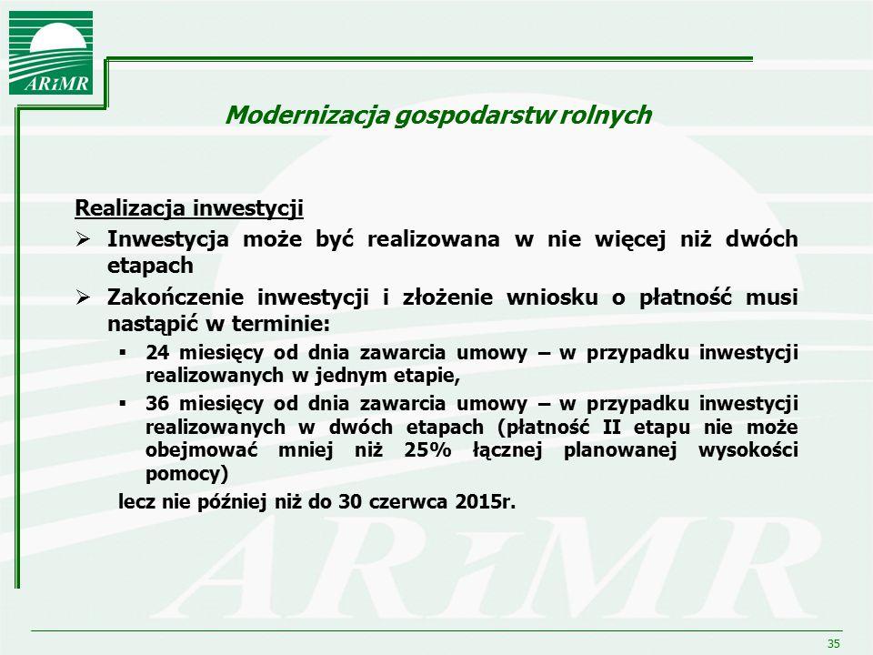 35 Modernizacja gospodarstw rolnych Realizacja inwestycji  Inwestycja może być realizowana w nie więcej niż dwóch etapach  Zakończenie inwestycji i