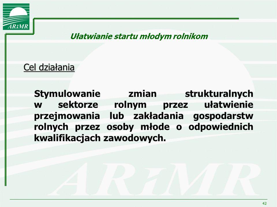 42 Ułatwianie startu młodym rolnikom Cel działania Stymulowanie zmian strukturalnych w sektorze rolnym przez ułatwienie przejmowania lub zakładania go